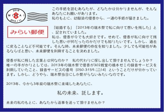 mirai21 - 2013年瑞木祭体験型ゲーム「みらい郵便」の活動記録
